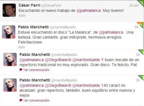 Los primeros que escucharon LA MALANCA se expresaron vía Twitter (Dirección de twitter para menciones del disco @tangomalanca )