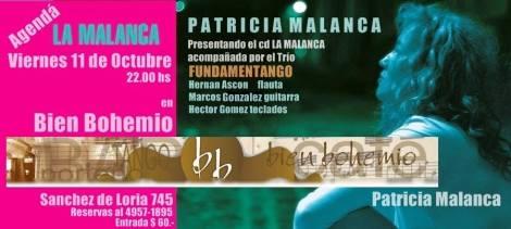 LA MALANCA con el Trío Fundamentango en BIEN BOHEMIO. Viernes 11